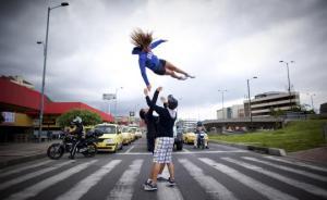 Street performers in Bogota